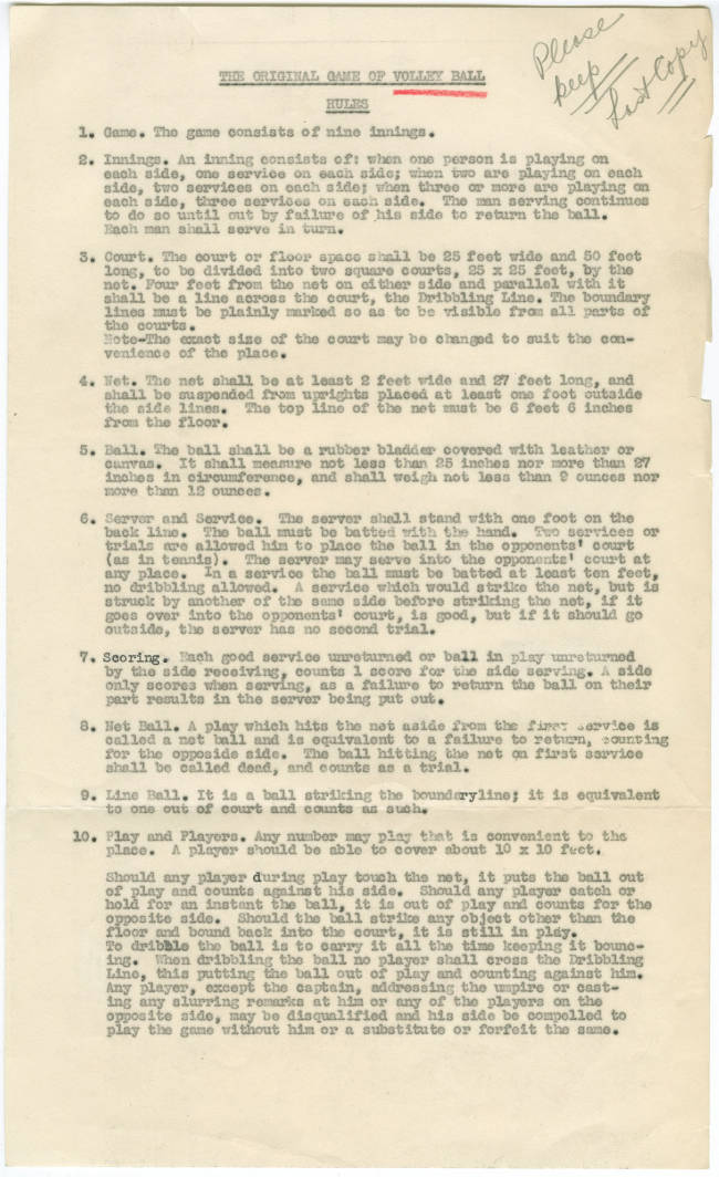 Original Rules Of Volleyball College Archives Digital Collections Springfield College Digital Collections