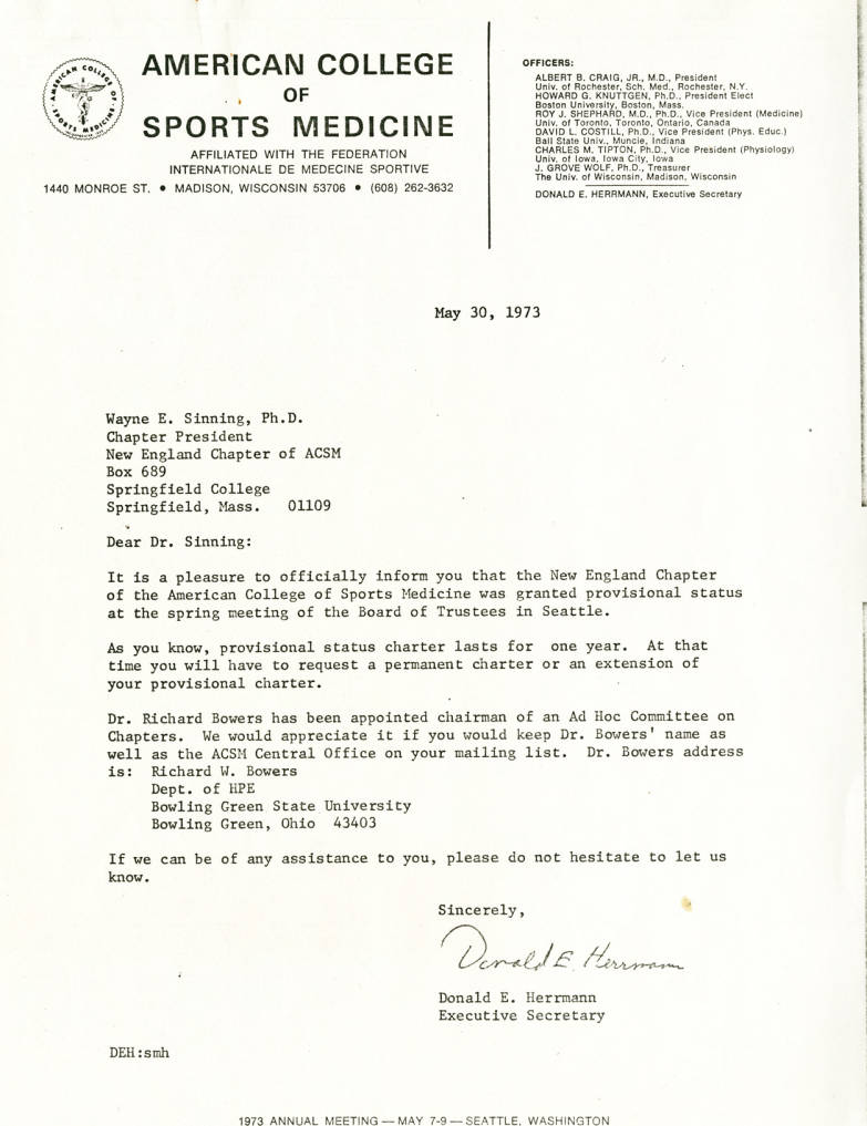 Letter from Donald Herrman to Wayne Sinning (May 30, 1973
